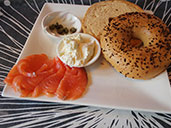 Lox and cream cheese on bagel at HH Gourmet in Shekou.