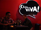 Two patrons enjoying a drink at Club Viva in Futian.