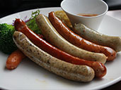Six flavored sausage platter at Brotzeit German Bar and Restaurant in Luohu.