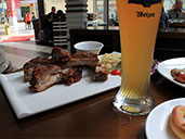 German meal with Ayinger Weisse beer at Brotzeit German Bar and Restaurant in Luohu.